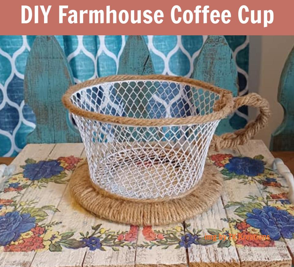 Farmhouse Coffee Cup Kitchen Storage Basket