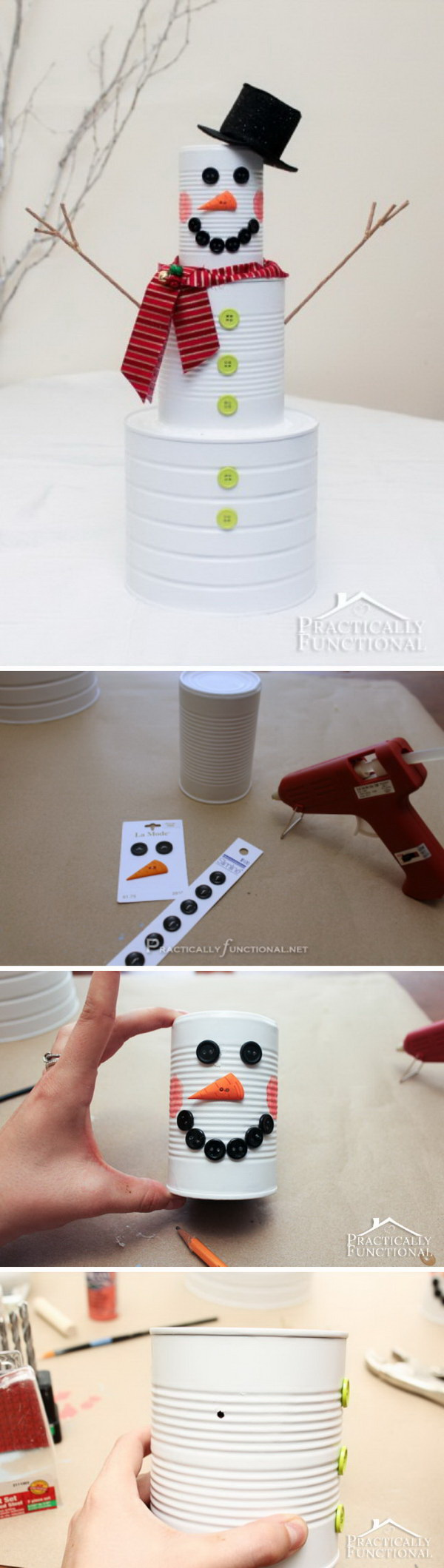 DIY Christmas Craft: Tin Can Snowman. Turn old tin cans into this cute and easy tin can snowman craft with the kids. It looks very easy to make!