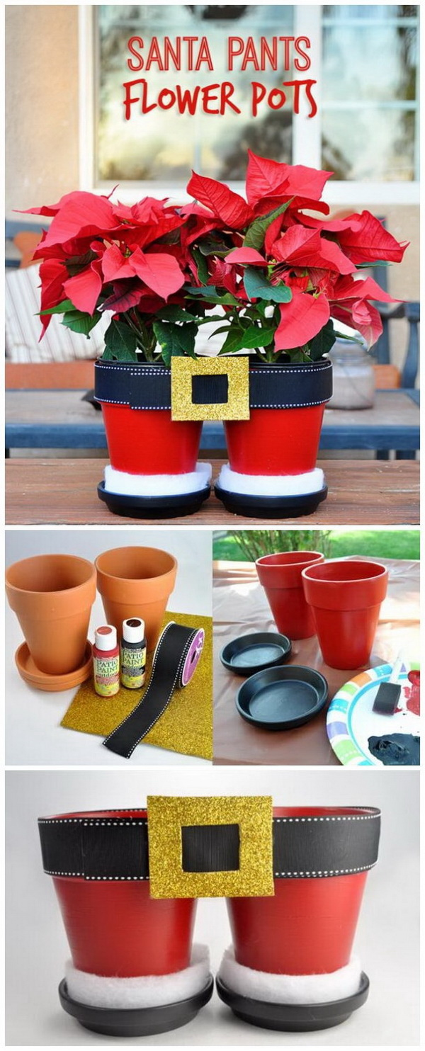 Santa Pants Flower Pots. Turn two terra cotta planters into the pretty Santa Pants flower pots! This is absolutely adorable and looks so much fun to make for Christmas! What you need are just a little paint, ribbon, gold glitter foam, and white batting!