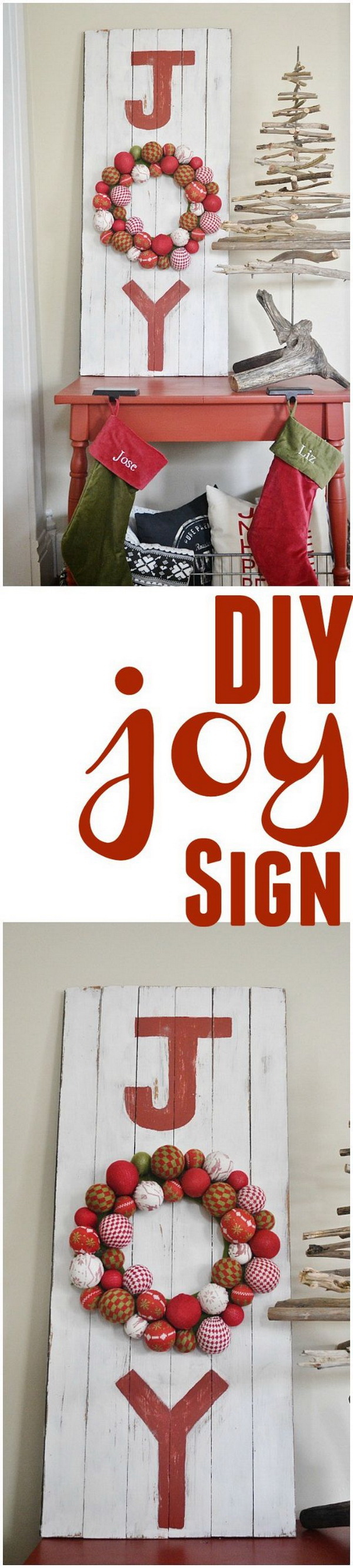 DIY Farmhouse Joy Sign. This DIY joy sign makes great decoration on your farmhouse front porch this Christmas season!
