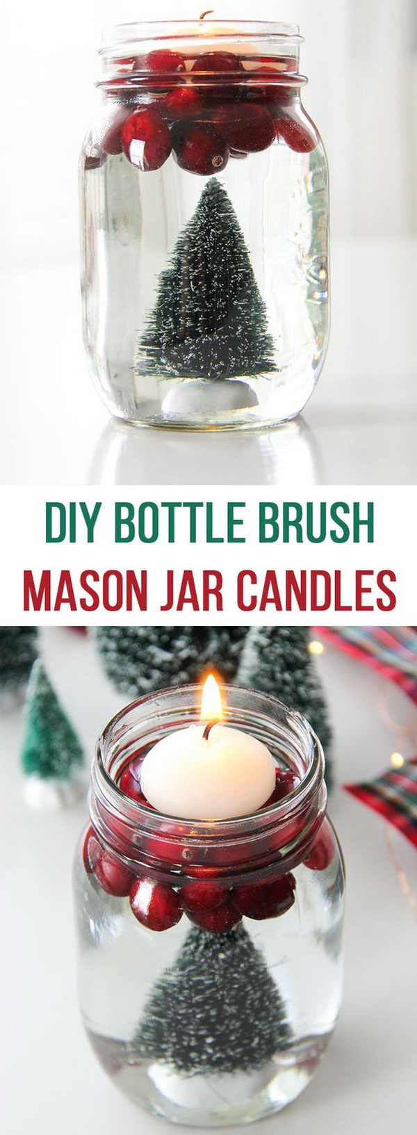 DIY Bottle Brush Mason Jar Candles. Make these adorable Bottle Brush Mason Jar Candles for your holiday table in just a few minutes and with a few simple supplies that you can find from the dollar store or arround your home.