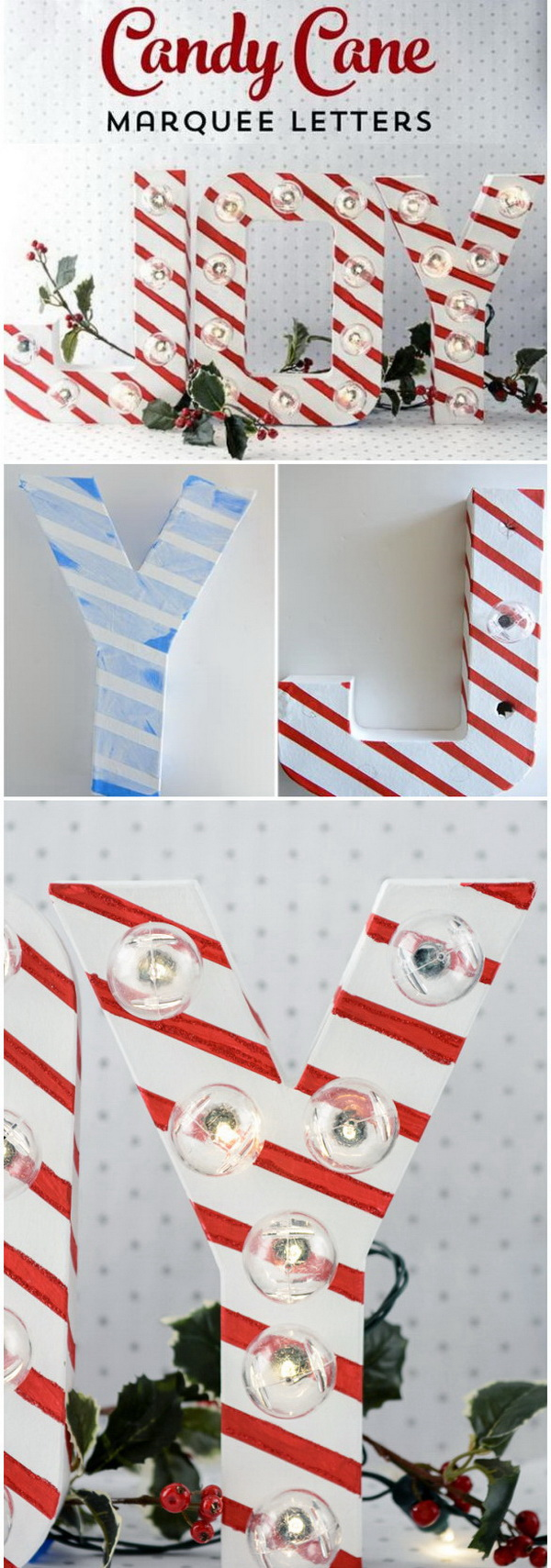 Candy Cane Christmas Marquee Letters. Marquee letters always make great DIY project for the holiday decoration. The candy cane stripes made with painters tape adds more festive flair to Christmas crafts and decorating.