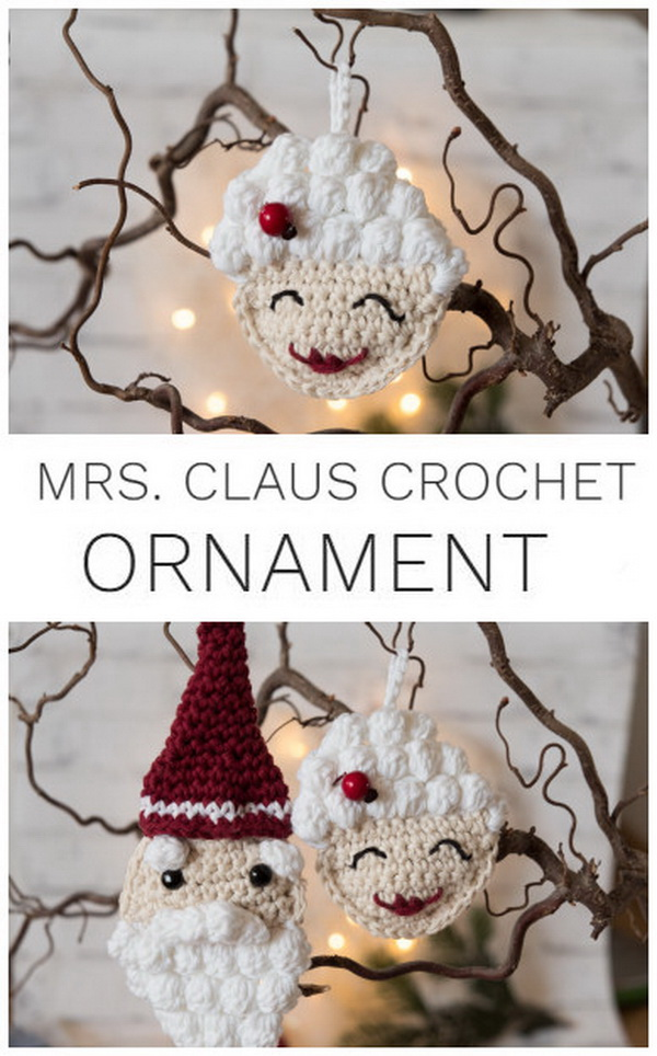 Mrs. Claus Crochet Ornament. Crocheting is always a great craft idea for Christmas season. You can try many crochet projects for your holiday decoration and holiday given gifts! These adorable Mrs. Claus crochet ornaments are the perfect free pattern for beginners and super easy to crochet in hours.