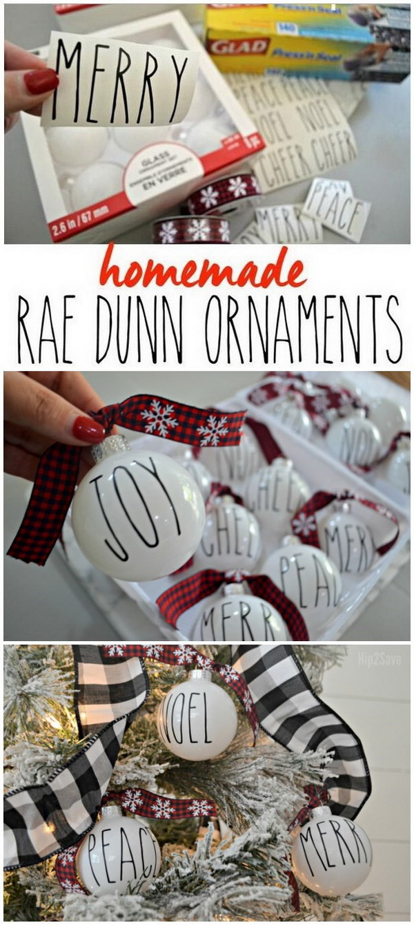 DIY Farmhouse Rae Dunn Inspired Christmas Ornaments. Love the trendy Rae Dunn look of these farmhouse Christmas ornaments! It is easy and fun to make with your families, you just need cut and apply black vinyl to solid white ornaments.