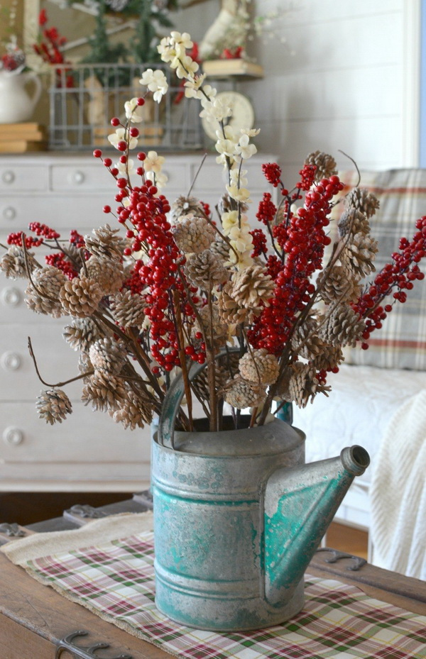 Vintage Pinecone Christmas Table Centerpiece.