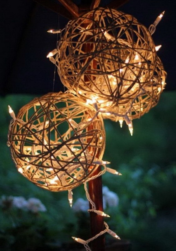 Rustic lanterns for outdoor Christmas decoration.