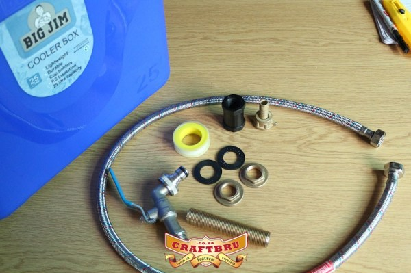 All the parts required for making a DIY Mash Tun - hose connector not used