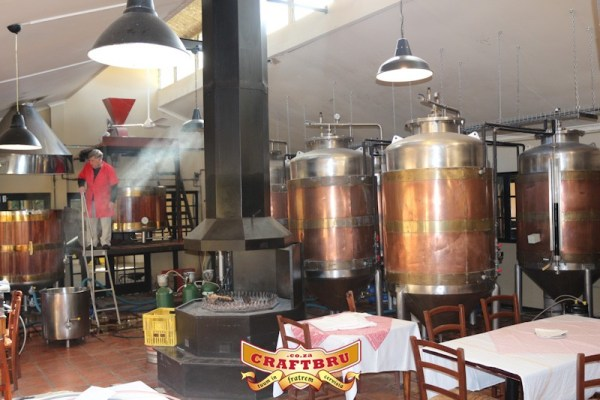 Good-looking copper-clad fermenters in the Old Main Brewery in Hilton, Pietermartizburg, KwaZulu-Natal