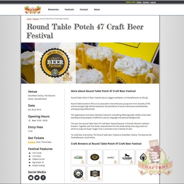 A craft beer festival listing example on CraftBru.com