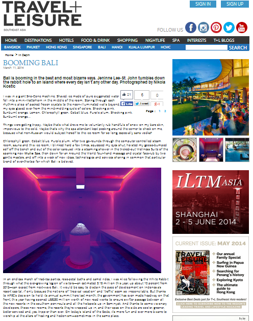 Grand Nikko Bali public relations agency client rebranding case study media coverage in Travel + Leisure SEA magazine