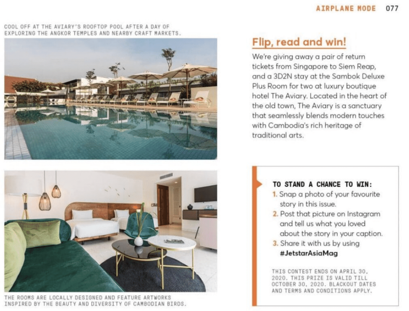 Travel public relations client The Aviary Hotel (Siem Reap) featured in Jetstar Asia inflight magazine - new Sombok rooms and rooftop pool