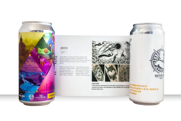 Peel off label on Northern Monk Patrons Project can designs
