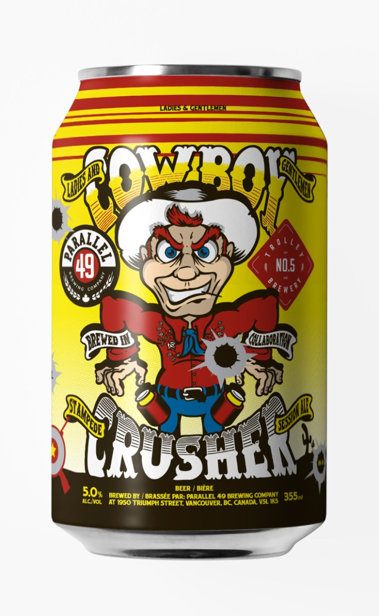 Steve Kitchen Cowboy Crusher craft can design for Parallel 49 Brewing, Vancouver