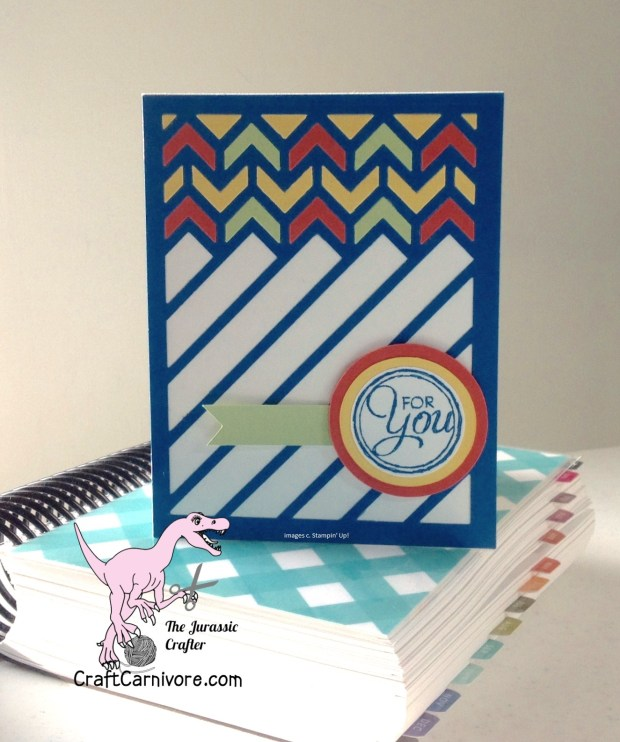 Color combos with Stampin' Up! card stock and Spellbinders chevron die.