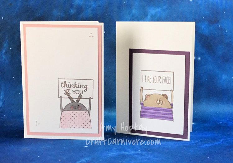 Children's cards using Cheerful Critters #stampinup #craftcarnivore