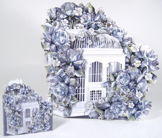 Blue Porcelein Birdcage Set