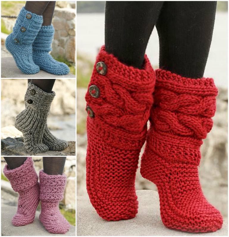 Wonderful 8 Knitted & Crochet Slipper Boots Free Patterns | WonderfulDIY.com