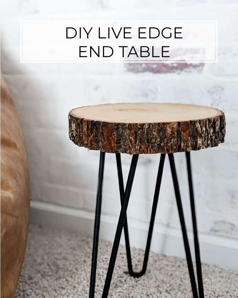 easy diy live edge end table with