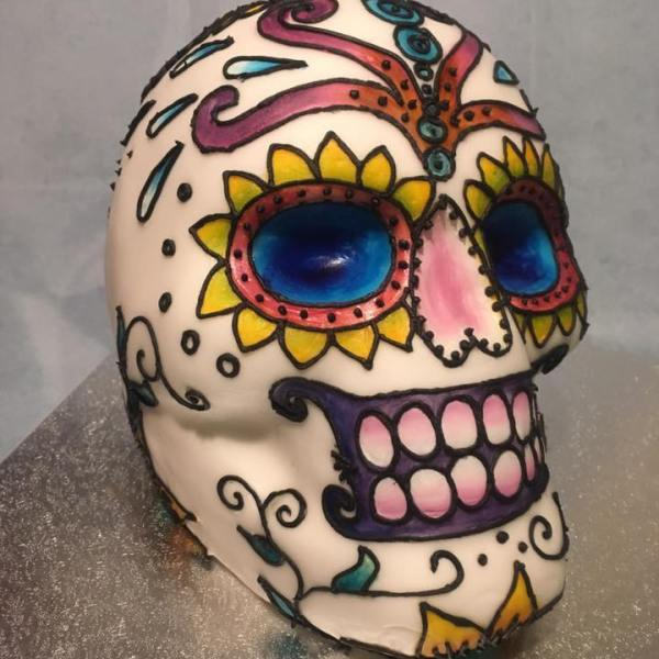 Decorated Skull Cake