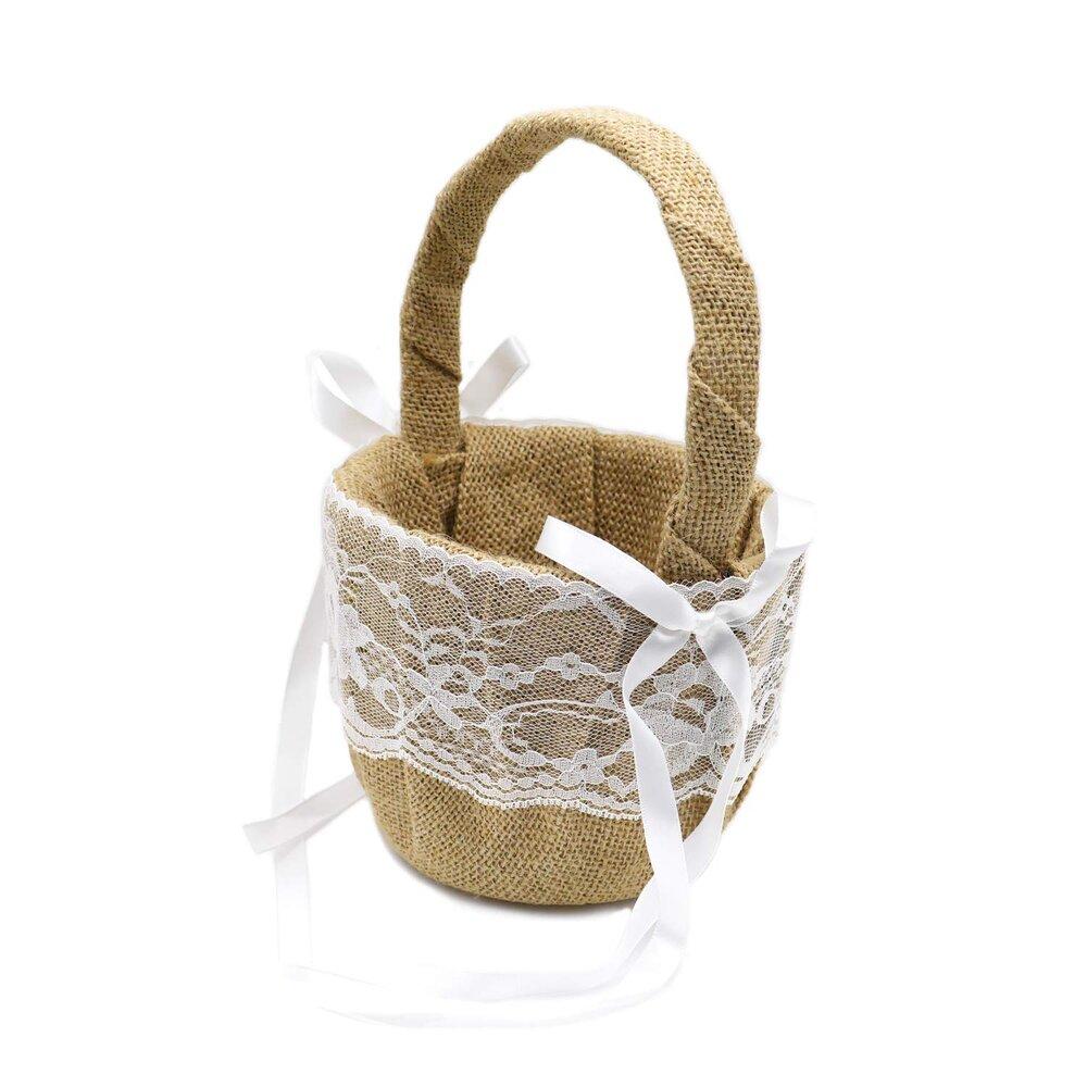 Burlap Flower Basket