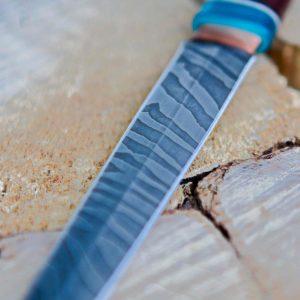 Lander Verschueren mes messen zelfgemaakt handgemaakt wapen smeden smid leer leren leder hoes schede jachtmes dolk damascus