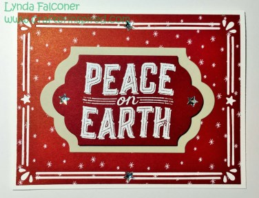 Peace on Earth card by Lynda Falconer, Independent Stampin Up Demonstrator at www.crafterinspired.com using Carols of Christmas Stamp Set and Card Fronts Thinlit Dies on Let's Be Merry Designer Series Paper.