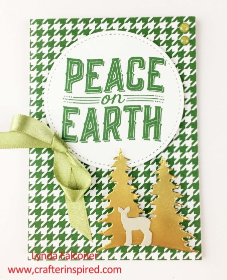 Green houndstooth check Christmas Card with Carols of Christmas Bundle by Lynda Falconer at www.crafterinspired.com