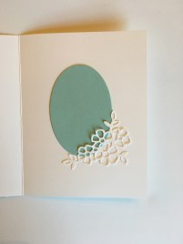 Use the oval to cover an error on the inside of the card by Lynda Falconer at www.crafterinspired.com