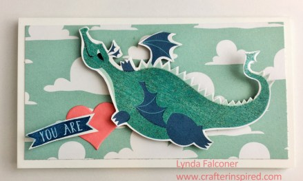 Dragon Valentine made by Lynda Falconer of www.crafterinspired.com using Stampin Up Myths and Magic Specialty Designer Series Paper
