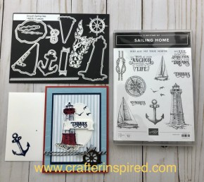 Products used in summer card include Sailing Home Stamp Set and Smooth Sailing Dies. Shop at www.lyndafalconer.stampinup.net.