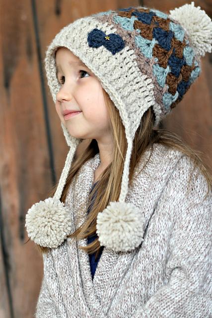 Crochet Granny Stitch pom pom hat