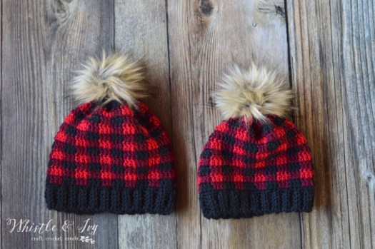 Sweet plaid crochet hat