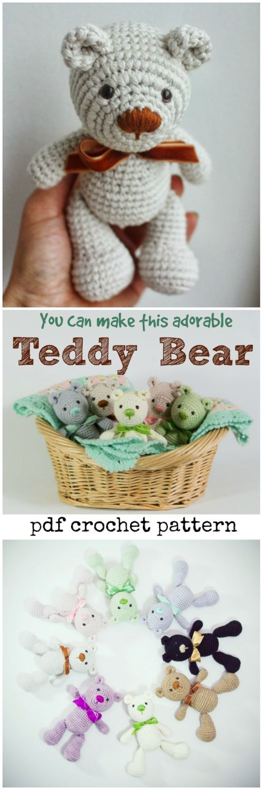What a cute little teddy bear amigurumi pattern! I would love to crochet one of these adorable little stuffed animals as a gift for the next baby that comes along! Absolutely sweet little handmade toy crochet pattern to make!