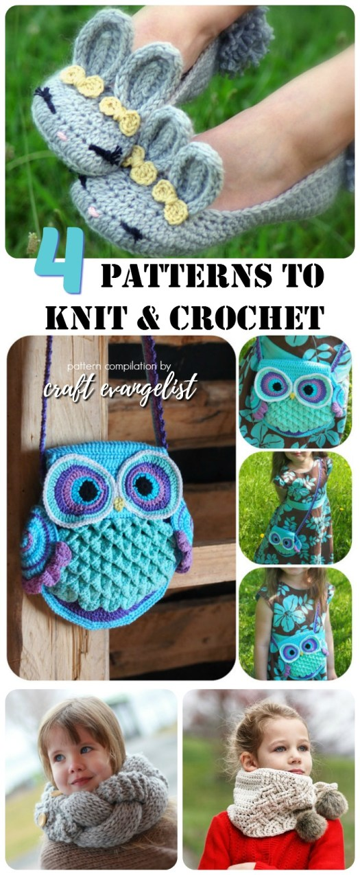 4 Great patterns to knit and crochet. Bunny slippers, owl purse, and two knit scarves. Check out craftevangelist's crafty finds!