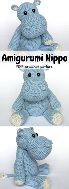 DIY Stuffed Hippo PDF Crochet Pattern
