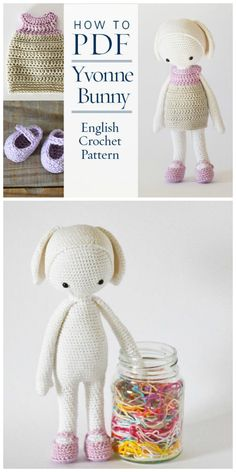 Sweet bunny pdf crochet pattern. Yvonne Bunny looks like a great rabbit stuffed amigurumi crochet pattern. Perfect for spring babies or Easter! Check out all of craft evangelist's DIY toy finds!