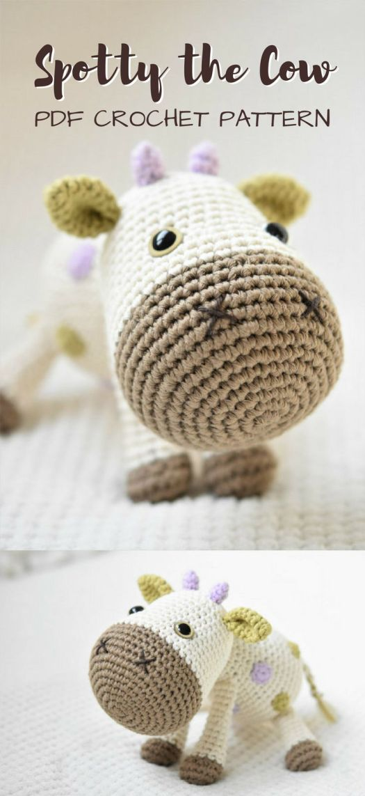 Adorable crochet pattern for amigurumi cow stuffed animal toy. Check out all of craft evangelist's baby pattern finds!