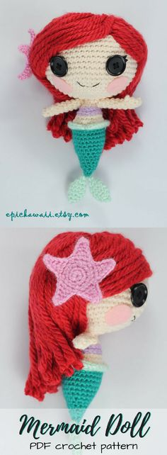 Mermaid amigurumi doll from Epic Kawaii. I love the adorable button eyes on this crochet doll pattern. Such a lovely pattern; would make a great handmade gift for a mermaid-loving child! Check out all of craft evangelists DIY toy finds!