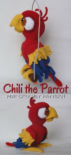 Fun amigurumi parrot crochet pattern. I love this design! What a fun stuffed toy bird pattern to make! Check out all of craft evangelist's DIY toy finds!