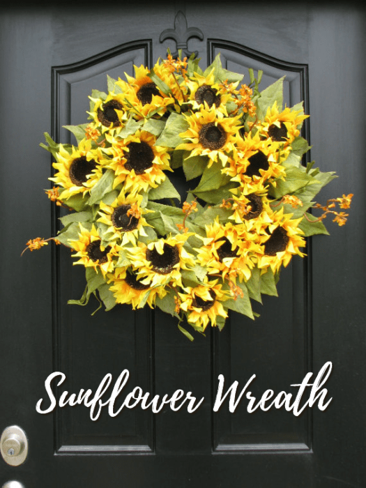 I love this sunflower wreath! Gorgeous! I wish I had time to make one just like it! Check out all of craft evangelist's wreath finds for every month of the year!