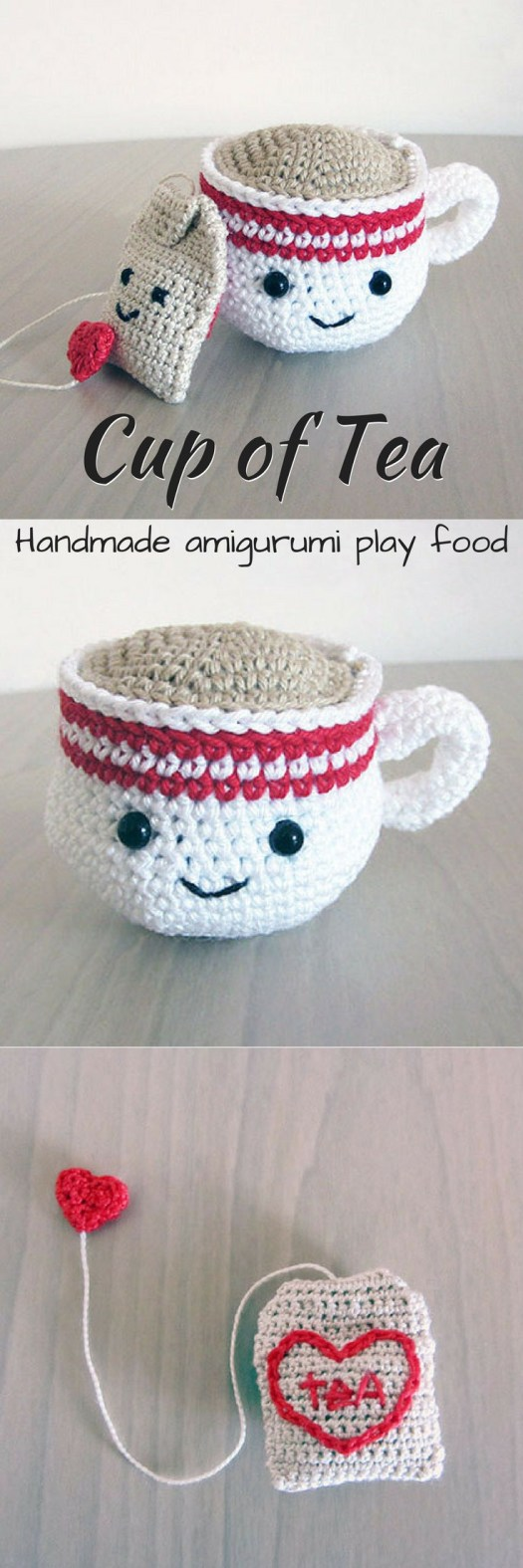 Eek! What an adorable little cup of tea with a tea bag crocheted play food amigurumi! This would be a perfect handmade gift for a toddler! So adorable! This link is for an Etsy listing to the finished product.