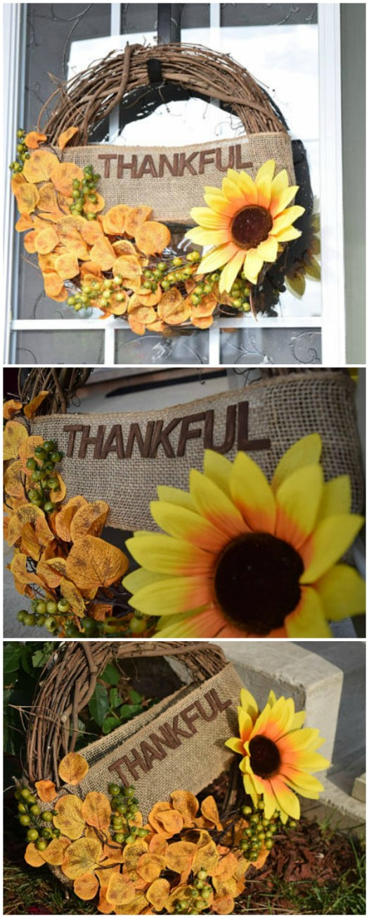 "Love this Thanksgiving wreath with ""Thankful"" banner. I love these grapevine wreaths. Beautiful sunflower. Check out all of craft evangelist's wreath finds for every month of the year!"