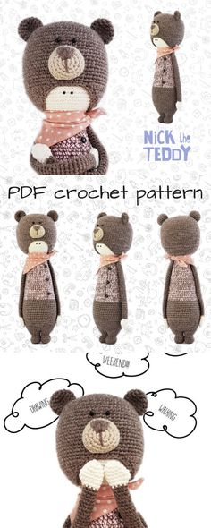 Adorable amigurumi doll in a teddy bear costume. Love this floppy stuffed toy crochet pattern! Perfect gift to make for any child. Check out all of craft evangelist's DIY toy finds!