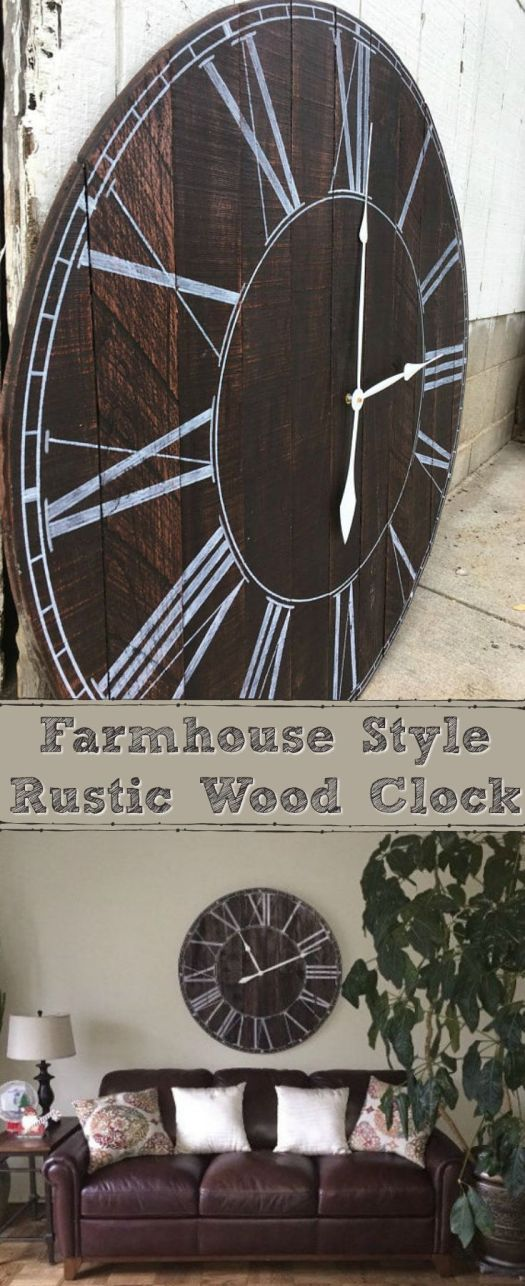 Gorgeous clock! This handcrafted farmhouse style clock will add a country feel to whatever room you hang it in. It's made of re-purposed pallet wood with hand painted numbers. The wood is a dark Brazilian rosewood (has a slight tint of red) stain with white numbers & hands.