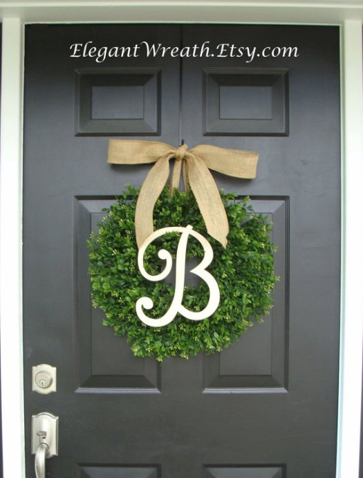 Monogrammed faux boxwood wreath, classic wreath for any time of year. Check out all of craft evangelist's wreath finds for every month of the year
