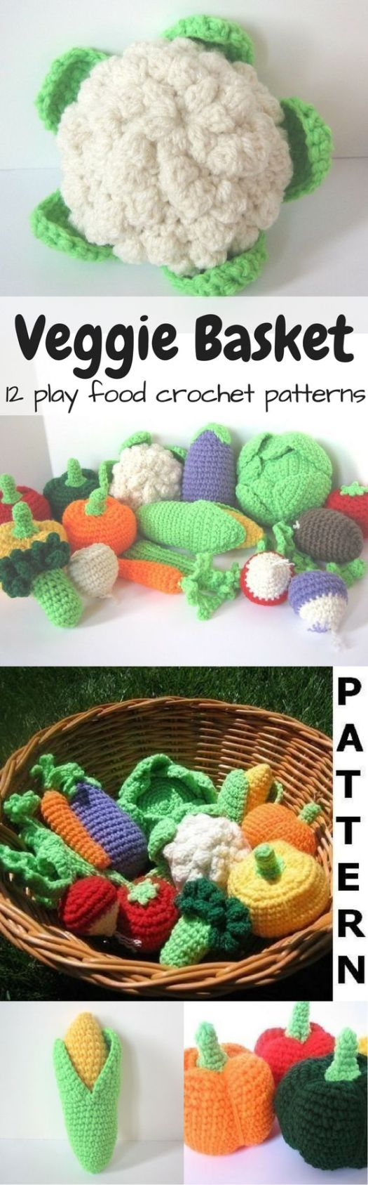 12 amazing vegetable crochet play food patterns to make this lovely basket full of veggies! What a fun idea for a child with a toy kitchen! I love the cauliflower! So great! Makes me wish my kids were little again!