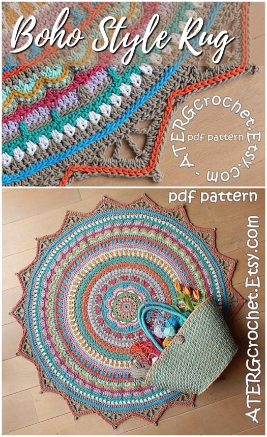 Love this gorgeous boho-style mandala rug crochet pattern! Another awesome crochet pattern find! Check out craftevangelist's crafty finds at craftevangelist.ca!