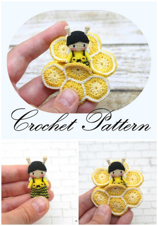 Love this adorable tiny crochet bee amigurumi pattern! What a sweet tiny doll to make! Great summer project found by #craftevangelist #pattern #crochet