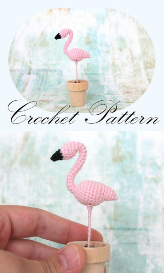 Adorabl Mini Flamingo Crochet Amigurumi Pattern. And look! It fits in a little flower pot! Soooo cute! Great little handmade gift idea! #craftevangelist