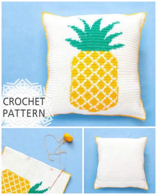 Pineapple Pillow Crochet Pattern! Check out these pineapple crafty finds by #craftevangelist